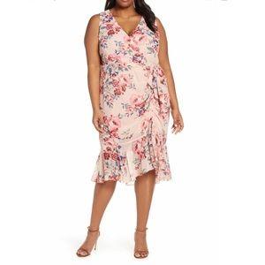 Eliza J Floral Sleeveless Chiffon Dress 22w -Blush